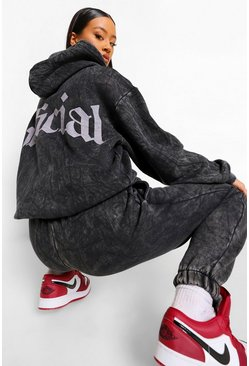 Charcoal grey Acid Wash Official Back Print Hoodie