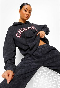 Charcoal Chicago Washed Oversized Hoodie