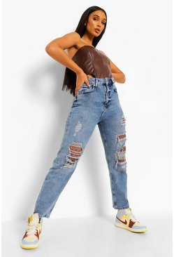 Mid blue blue Bandana Patch Work Mum Jeans