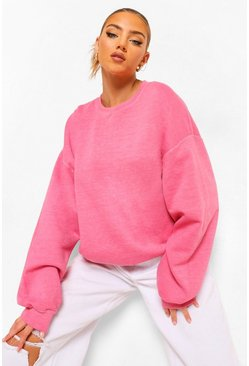 Bright pink pink Oversized Acid Wash Gebleekte Sweater
