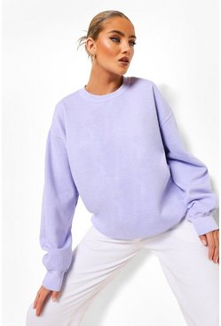 Lilac purple Oversized Acid Wash Sweatshirt