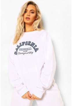 White California Slogan Varsity Sweatshirt