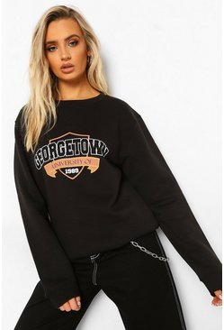 Black Georgetown Varsity Slogan Sweatshirt