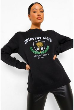 Black Country Club Slogan Sweatshirt