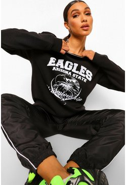 Black Varsity Slogan Oversized Sweatshirt