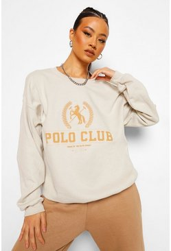 Sand beige Oversized Polo Club Sweatshirt