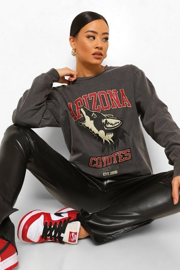 Charcoal grey Overdyed Printed Oversized Sweatshirt