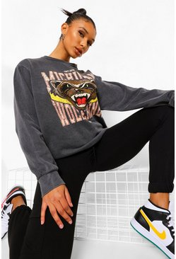 Charcoal grey Acidwash Printed Oversized Sweatshirt