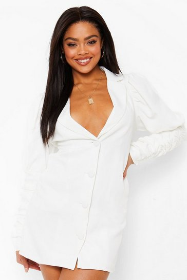 Ivory white Puff Shoulder Ruched Sleeve Tailored Blazer Dress