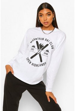 White Ski Club Long Sleeve T-shirt