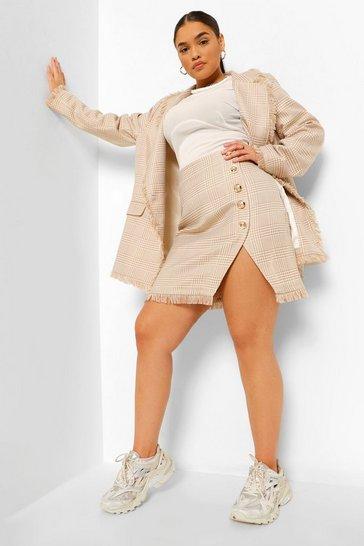 Camel beige Plus Dog Tooth Button Front Mini Skirt