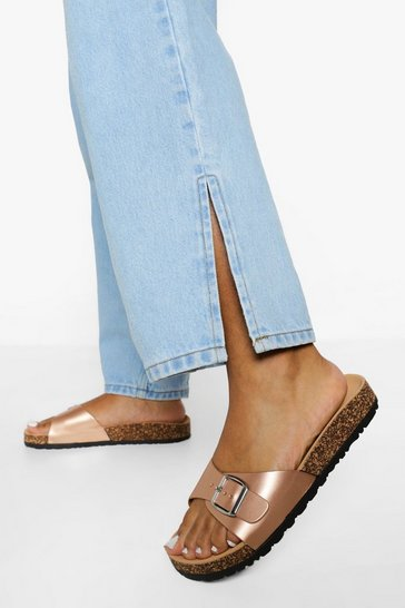 Rose gold metallic Buckle Footbed Slider