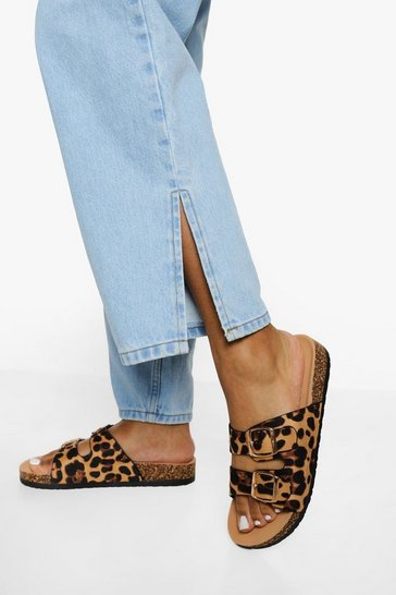 Leopard multi Double Buckle Footbed Slider