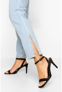 Black Wide Fit Square Toe Mid Height Heeled Sandal