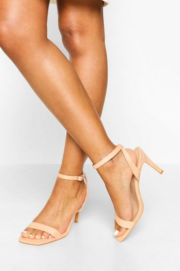 Blush pink Wide Fit Square Toe Mid Height Heeled Sandal