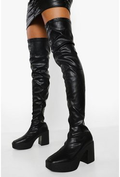 Black Chunky Platform Over The Knee Boots