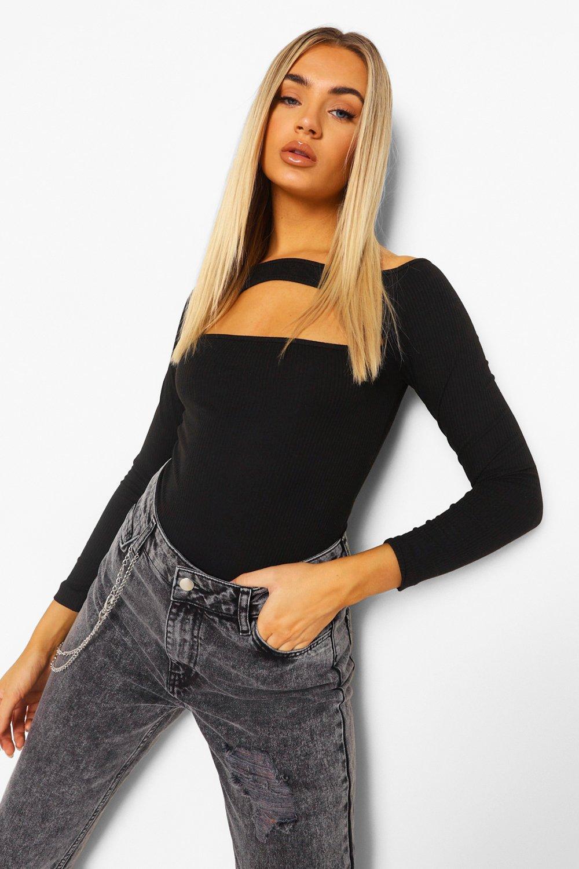 TOPS Black Cut Out Long Sleeve Bodysuit
