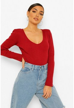 Berry red V Neck Bodysuit
