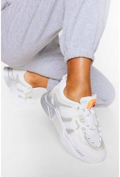 White Gradient Sole Chunky Sports Trainers