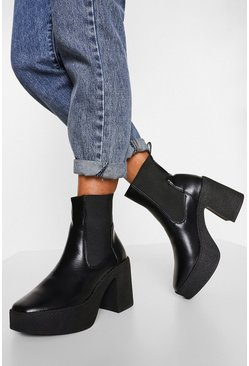 WOMENS ANKLE CHUNKY CHELSEA STUDS PATENT CROC BLOCK SOLE LADIES SHOES BOOTS SIZE