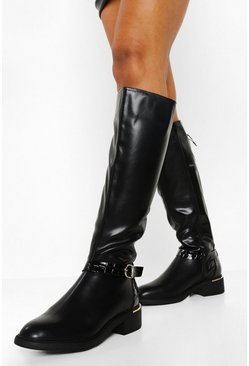 Black Buckle Detail Riding Boot