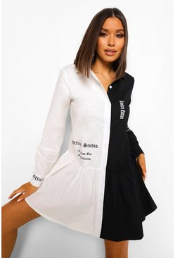 White Contrast Micro Slogan Smock Dress