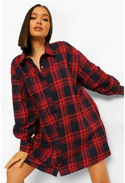Red Check Oversized Shirt Dress