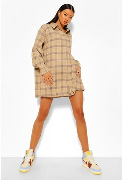 Check Oversized Shirt Dress, Stone beige