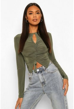 Light khaki khaki Long Sleeve Keyhole Ruched Top