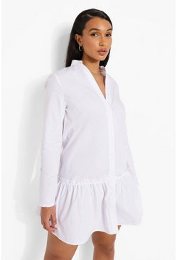 White Official Back Print Drop Hem Smock Dress