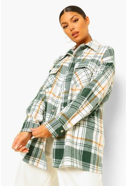 Green Brushed Heavy Check Shacket