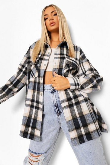 Black Brushed Heavy Check Shacket