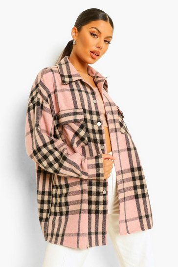 Pink Brushed Heavy Check Shacket