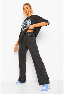 Black Basic Stretched Fitted Wide Leg Jeans