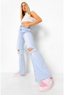 Mid blue blue Basic Stretch Rip Knee Flare Jeans