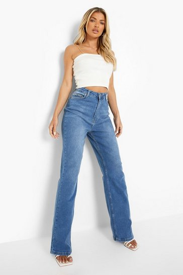 Mid blue blue Basic Fitted Stretch Wide Leg Jean