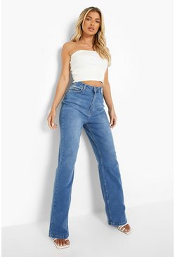 Mid blue blue Basic Fitted Stretch Wide Leg Jeans