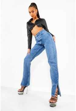 Mid blue blue Side Split High Waisted Jeans