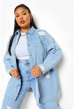 Mid blue blue Plus Distressed Rigid Denim Oversized Shirt