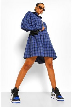 Blue Check Oversized Shirt Dress