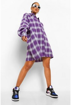 Check Oversized Shirt Dress, Lilac violett