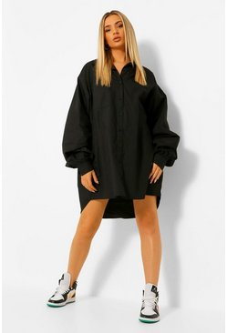 Black Extreme Oversized Pocket Shirt Dress