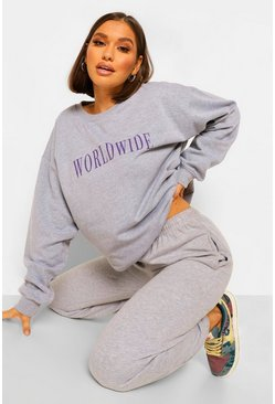 Oversized Worldwide Sweater , Grey marl gris