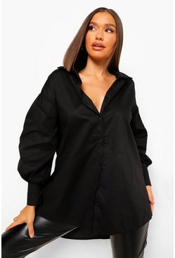 Black Oversized Balloon Sleeve Cotton Shirt