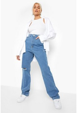 High Waist Ripped Boyfriend Jean, Mid blue Синий