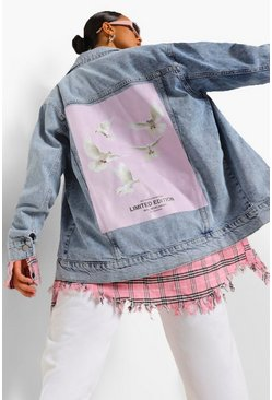 Ice blue Dove Back Print Oversized Denim Jacket