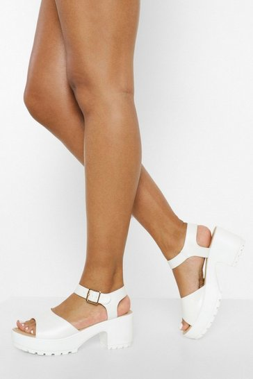 White Peeptoe Two Part Cleated Sandals