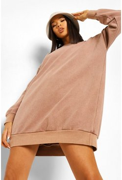 Overdyed Oversized Sweater Dress, Chocolate braun