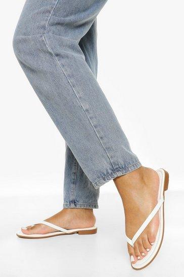 White Wide Fit Basic Flip Flop