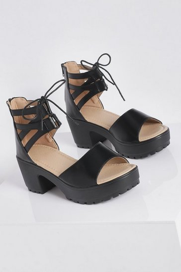 Black Lace Up 2 Part Cleated Sandals